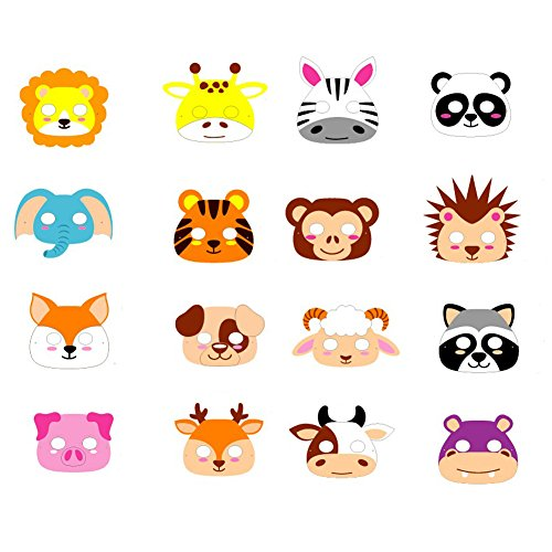ED-Lumos Máscaras para niños Forma Animal Material Goma Eva 16 Piezas para Fiestas de cumpleaños de los niños