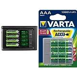VARTA LCD SMART Charger inkl. 4x 56706 ReadytoUse AA Akkus Ladegerät für AA/AAA Micro/Mignon