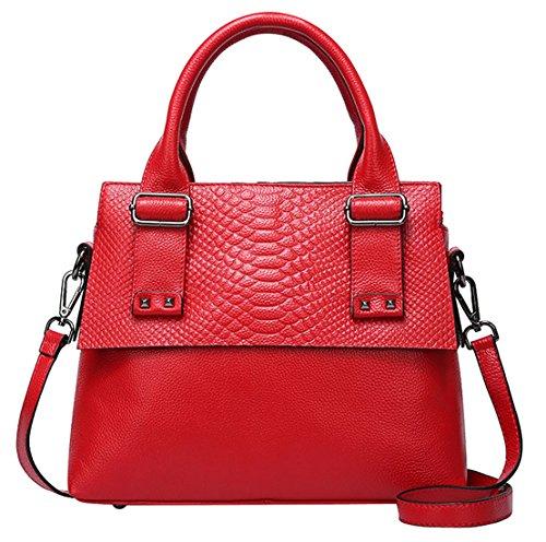 SAIERLONG Nuovo Donna Nero Pelle Bovina Genuina Borse Tracolle Rosso