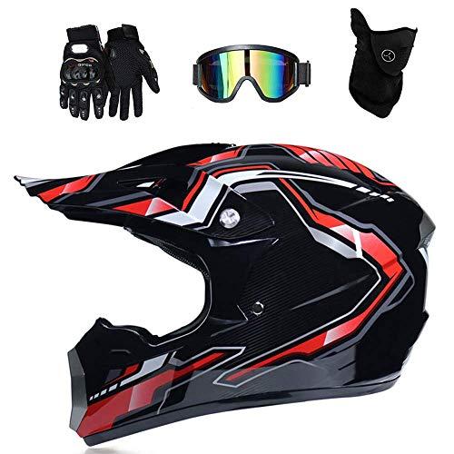 LJ-GJ Outdoor Radfahrer Kostüm- Motocross Motorrad Motorradhelme & Handschuhe & SCHUTZBRILLE D.O.T Zertifizierung Kinder Quad ATV Go Kart Helm (Motocross Kostüm Kinder)