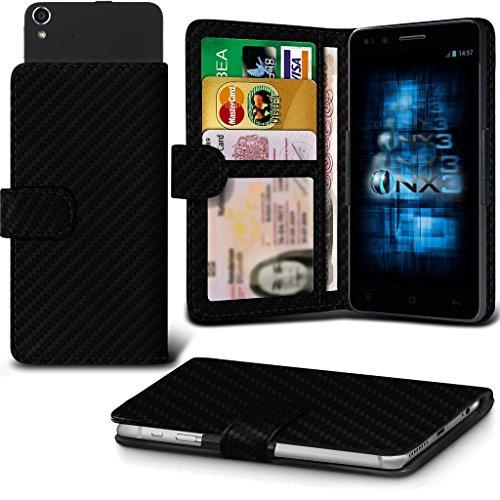 (Carbon Fibre) Aldi Medion Life E4005 Hülle Abdeckung Cover Case schutzhülle Tasche Verstellbarer Feder Mappe Identifikation-Kartenhalter-Kasten-Abdeckung ONX3