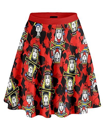 CowCow - Gonna a vita alta da donna con corvi, taglie classiche e grandi Black & Red Queen