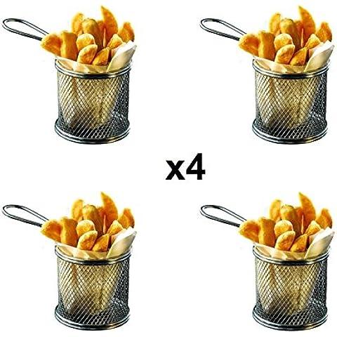 Set 4 cestas redondas de tamaño pequeño y de cromo para freír, 10 x 8 cm, incluye 48 hojas de papel parafinado de 20 x 20 cm, ideal para patatas, gambas, aros de cebolla y presentación de comida