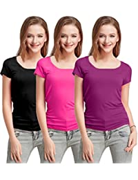 Fashion Line Premium Quality Stylish Printed Round Neck T Shirts For Women _Color : Black,Pink and Purple _Material : Cotton (Pack of 3 )