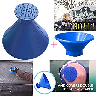 Cone-Shaped Car Windshield Snow Removal Window Cleaning Tool, Snowboard Defroster Motorcycle With Snow Brush (Blue *2)