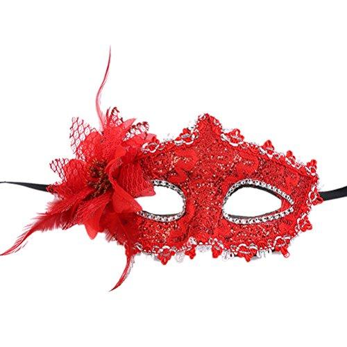 STOBOK Drachen Muster Halbes Gesicht Augenmaske Halloween kostüm Party Prom Maske für Cosplay Maskerade Party (rot) (Kostüm Augenmaske Muster)