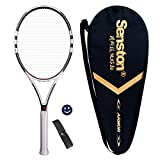 Senston Grafito Raqueta de tenis unisex,Incluido Bolsa de Tenis / 1 grip / 1 Amortiguadores,Blanco