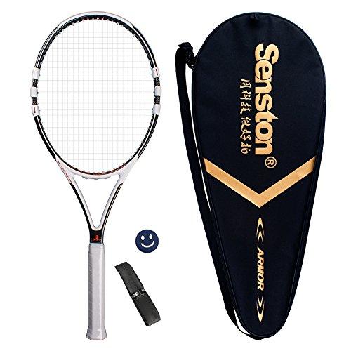 Senston Pieno Carbonio Racchetta da Tennis, Fibra di Carbonio Racchetta da Tennis, Compreso Borsa da Tennis, 1 Pezzo Overgrip, e 1 Pezzo Ammortizzatore (colore casuale), Una Migliore Stabilità