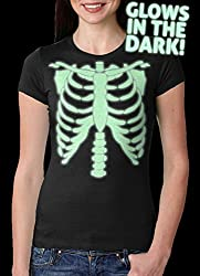 Womens Glowing Skeleton Tshirt Rib Cage Cool Glow In The Dark Halloween Tee from Crazy Dog Tshirts