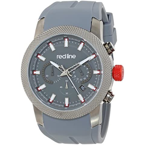 Red Line Gauge Men's 46mm Chronograph Silicone Rubber Quartz Watch 10017-GM-014 - 014 Gauge