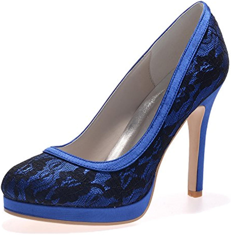 Elobaby Zapatos De Boda De Las Mujeres Satén De Tacón Alto Punta Redonda Plataforma De Marfil/Partido/6915-08/... -