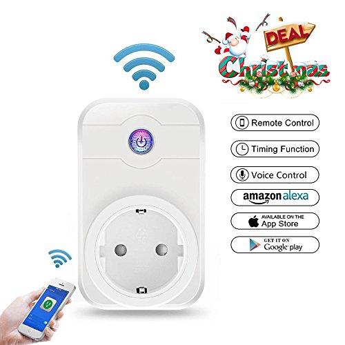 Smart Steckdose, MEER Intelligente Wifi WLAN Home Steckdosen inkl Zeitsteuerung Energiesparfunktion, App Fernbedienung für IOS und Android mit Amazon Alexa (Echo und Echo Dot)