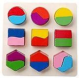 Elecenty Kinder Holzspielzeug Baby Holz Geometrie Bausteine Puzzle Früherziehung Pädagogisches Geometrie Baustein Puzzlespiel Frühes Lernen Pädagogisches Spielzeug (15cm, B)