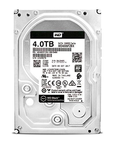 WD Desktop Black 4 TB interne Festplatte SATA, 6Gb/s 256MB Cache, 8,9cm (3,5 Zoll) 7200rpm interne HDD, RoHS konform, Bulk, WD4005FZBX