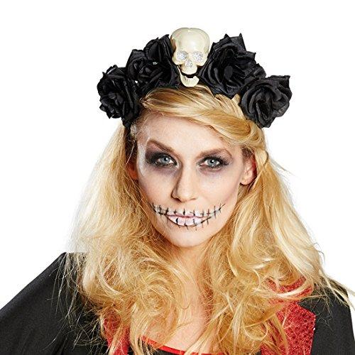 Amakando Rosen Kopfschmuck Sugar Skull - schwarz - Tag der Toten Haarschmuck Dia de los Muertos Haarreifen Gothic Totenschädel Diadem Halloween Kostüm Accessoire La Catrina (Catrina Kostüm Halloween)