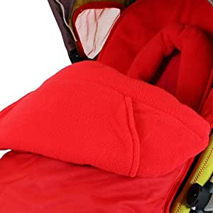 Baby Travel Foot Muff and Head Hugger Universal Fit (Red)