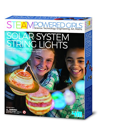 4M 00-04905 Die Steam Powered Girls - Solar System String Lights Bringen Das Universum ins Kinderzimmer und wecken die Faszination die unendlichen Weiten des Weltraums Selbst zu Entdecken, bunt