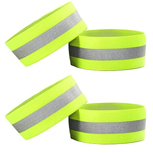 4pcs alta visibilidad reflectante brazaletes pulseras/bandas de tobillo/, seguridad Gear para correr, ciclismo, caminar, correr, ciclismo o de perros temprano en la mañana y noche actividades