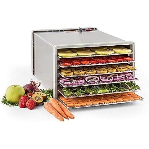 Klarstein Fruit Jerky Pro 6 essiccatore per alimenti con 6 ripiani estraibili (630 Watt, temperatura regolabile fino a 68 °C) - acciaio inox