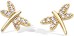 Les Trésors De Lily [N6912] - L'oro ha placcato gli orecchini 'Libellules' d'oro.