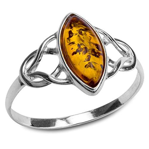 Bernstein Sterling Silber Keltischer Marquise Ring