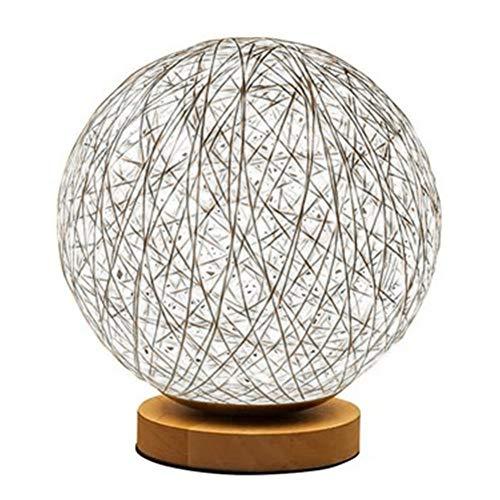 Newin Star 3D LED rota la luna de la lámpara minimalista sólida mesa Lámpara de cabecera Lámpara de escritorio colorida decoración del hogar Rattan bola redonda Pantalla púrpura
