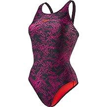 Speedo Boom Allover, Bañador para Mujer, multicolor (Negro/rosa eléctrico  (Lava Red Liner And Branding)),ES: 38 (Talla del manufacturier: 32)
