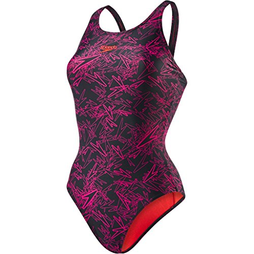 Speedo Damen Boom Muscleback Badeanzug mit Allover-Print Swimwear, Black/Electric Pink,42 EU
