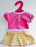 Johntoy Baby Rose Babypuppe Puppenkleidung Puppen-kleid Größe 40 - 45 cm passend für viele Marken Kleid Farbe rosa mit einem gepünkteltem Rock in gelb