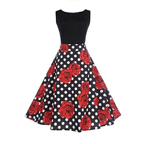 Lenfesh Mujer Vintage Retro Vestido A-Line Años 50 Impresión...