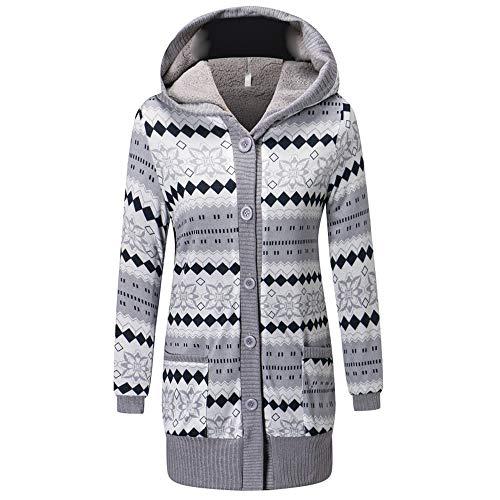 LOLIANNI Damen Outwear Mode Taschen Knopf Casual Long Sleeve Caps Women Losen Mantel Madchen Casual Pullover Jacke Dünne Coat Sweatshirt am Kapuzenpullover mit Baumwollanteil