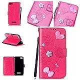 Handyhülle für Wiko Lenny 2, BONROY® PU Leder Hülle Flip Case Booklet Geldbörse mit Standfunktion, Kartenfach & Weich TPU Innere - Pink Love Heart