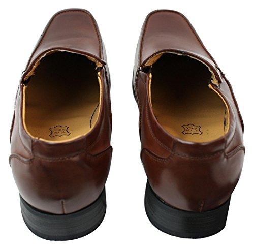 Chaussures homme à enfiler style chic formel simili marron doublure cuir bout carré Brun