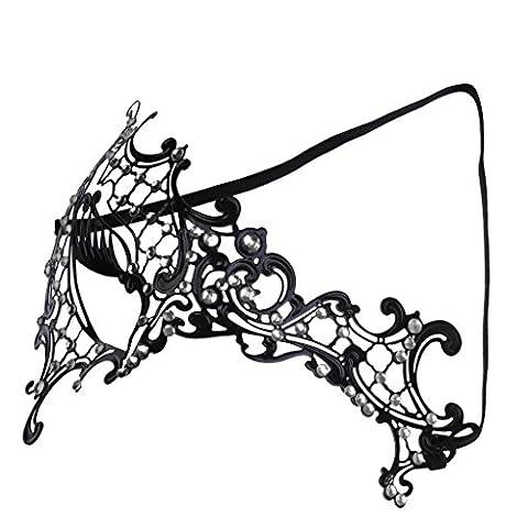 MagiDeal Diamante Venezianischen Stil Metall Filigran Masquerade Maske Prom Ball Kristall Maske - (Halloween Kostüme Arts And Crafts)