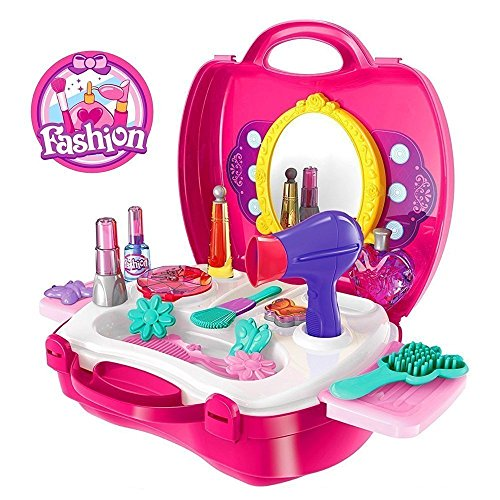 IFRAZON Fashion Suitcase Make up Toy Set Along Beauty Suitcase Makeup Vanity Toy Set for Girls(Color May Vary)