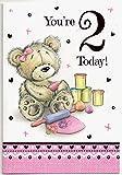 Geburtstagskarte für zwei (2) Jahr Mädchen–Kostenloser 1st Class Post (UK)