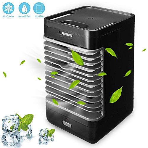 Fsan 3 in 1 Mobile klimageräte Air Cooler, Persönliche Klimaanlage, Luftbefeuchter, Luftreiniger und Aroma Diffuser, luftkühler,Schwarz, W00835 - Quadratmeter Kühlung