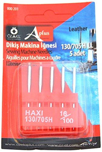 Ozelaplus - Agujas Universal de máquina de coser, para cuero, tamaño 16/100, paquete de 5, color plateado