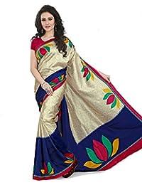 Samskruti Sarees Artificial Silk Saree With Blouse Piece (Spas-82_Beige_Free Size)