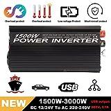 Hehilark Spannungswandler 12V 1500 Watt Inverter Wechselrichter DC 12V auf AC 230V Power Inverter Converter Stromwandler auf 3000 Watt mit 2.4A USB Anschlüsse (Y81500U)
