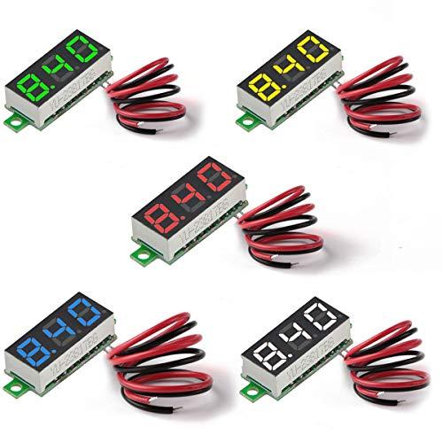 Makerhawk Digital DC Voltmeter 5pcs Mini 0.28 Inch Two-Wire 2.5V-30V Mini Digital DC Voltmeter Voltage Tester Meter 5 Colours - Computer-beratung