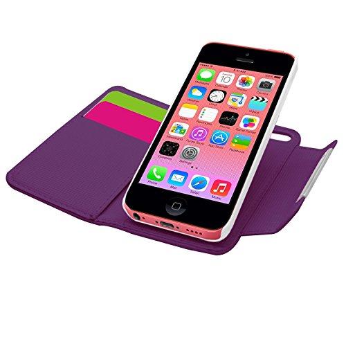 Samrick 000032114 2-in-1 Weiches Leder Buch Brieftasche für Apple iPhone 5C mit Kreditkarte/Geschäftskarte Halter/Handschlaufe, Abnehmbaren Hart Case lila lila