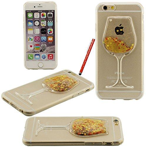 Fließfähige Flüssigkeit Phosphor-Sterne-Weinglas Hartplastik Schutzhülle case für Apple iPhone 6 plus / 6S plus Hülle 5.5 inch mit Touch-Screen-Stift gelb