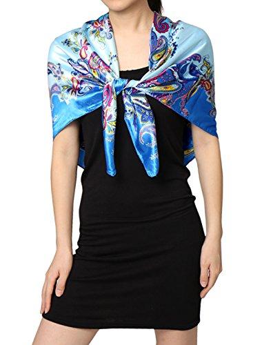 sourcingmap® Damen Paisleys Viereck Form Hals Kopf Halsschal Himmel Blau (Schal Paisley Square)