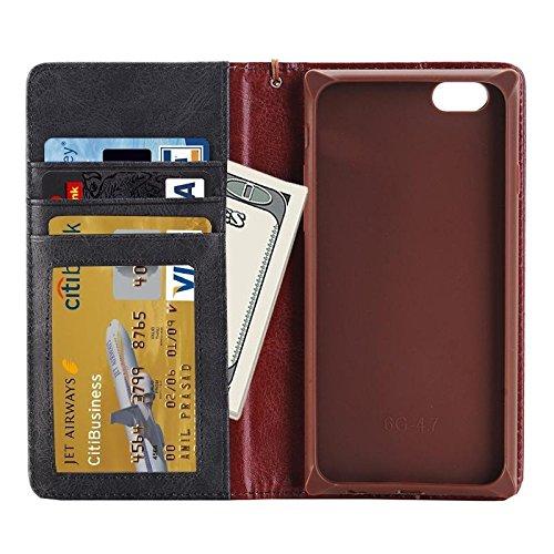 Wkae Case Cover Denim Texture Magnetic Horizontal-Schlag-Leder-Kasten mit Halter &Karten-Slots und Brieftasche &Lanyard für iPhone 6 &6s ( Color : Magenta ) grau