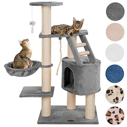 Happypet® Kratzbaum für Katzen mittelgroß CAT017 120 cm hoch, Kletterbaum Katzenbaum, extra Dicke und stabile Säulen mit Sisal ca. 9 cm, Liegemulde, Haus, Treppe, Spielmaus, GRAU - Schätze Weiße Kommode