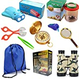 DoMyfit 9er Outdoor Explorer Kit für Kinder, Kinder Abenteuer Exploration Equipment Set, Camping, Jagd, Wandern & Vogel Watching, Pretend Play, Fernglas, Taschenlampe, Kompass, Lupe, Spaß Backyard Bug Catching Adventure Set