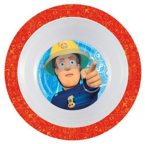 Feuerwehrmann Sam 7 teiliges Melamin Küchenset für Kinder, Teller, Müslischale, Suppenteller, Besteckset, Kinderbecher und Platzset als preiswertes Tisch-Set - 4