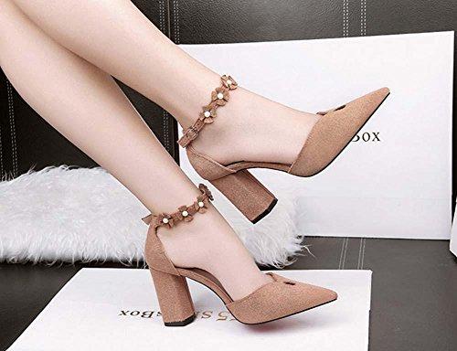 NobS Donne Punta Dita Dei Piedi Tacchi Alti Della Cinghia Della Caviglia Fiore Sandali Tacco Grosso Casual Shoes Lavoro Scarpe Khaki