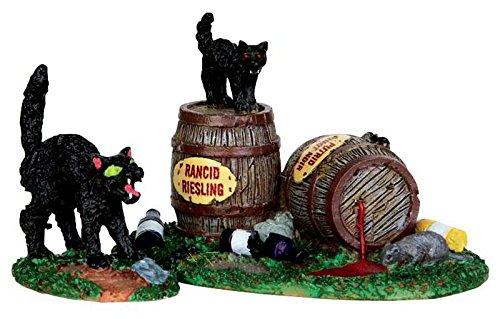 Lemax - Wine Barrels - Schwarze Katzen - 2er Set - Spooky Town - Polyresin - Figuren & Zubehör für - Halloween-town 2